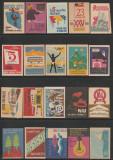 Colectie de 60 etichete chibrituri romanesti din perioada 1950-1970, RPR - RSR