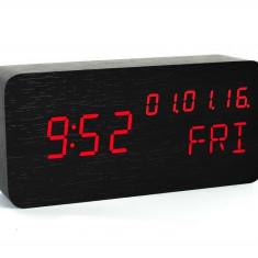 Ceas de birou, display LED, din lemn, senzor sunet, temperatura, data, alarma
