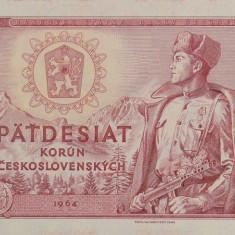CEHOSLOVACIA █ bancnota █ 50 Korun █ 1964 █ P-90b █ UNC █ necirculata