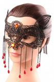 MSK65 Masca de carnaval, din broderie, accesorizata cu lanturi si pietricele