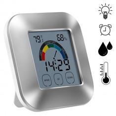 Ceas digital iluminat LED cu higrometru, termometru, touchsreen, LCD 2.7 inch