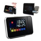 Ceas LED cu proiector ora, higrometru, termometru, calendar, alarma, LCD 3.7 inch