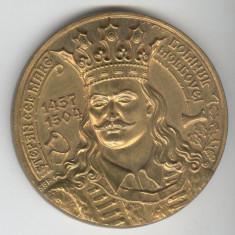 STEFAN CEL MARE  DOMNUL MOLDOVEI - PUTNA  - MEDALIE bronz aurit  SUPERBA  - RARA