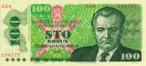 CEHOSLOVACIA █ bancnota █ 100 Korun █ 1989 █ P-97 █ A 01 █ UNC █ necirculata
