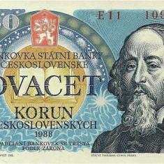 CEHOSLOVACIA █ bancnota █ 20 Korun █ 1988 █ P-95 █ UNC █ necirculata