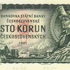 CEHOSLOVACIA █ bancnota █ 100 Korun █ 1961 █ P-91c █ UNC █ necirculata