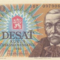 CEHOSLOVACIA █ bancnota █ 10 Korun █ 1986 █ P-94 █ UNC █ necirculata