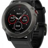 Ceas activity outdoor tracker Garmin Fenix 5x Sapphire Edition, GPS, HR, Waterproof 10 ATM (Negru)