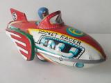 Jucarie veche colectie, din tabla, racheta Rocket Racer MF 735, China anii '70