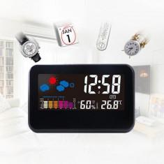 Ceas digital LED cu senzor sunet, afisare temperatura umiditate, alarma, display 5.19 inch