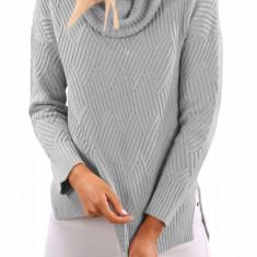 BL1000-18 Pulover tricotat, cu model, fante pe lateral si guler inalt, L, M, M/L, S/M, XL