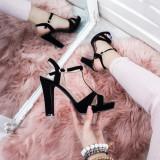 Sandale Sebes negre cu toc gros