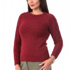 BL979-81 Pulover gros tricotat, cu guler rotund si maneci lungi cu torsade, S/M