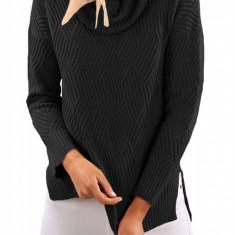 BL1000-1 Pulover tricotat, cu model, fante pe lateral si guler inalt, L, M, M/L, S/M, XL