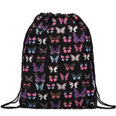 Rucsac negru cu imprimeu multicolor din material textil Miss Lulu, unisex E1406B foto