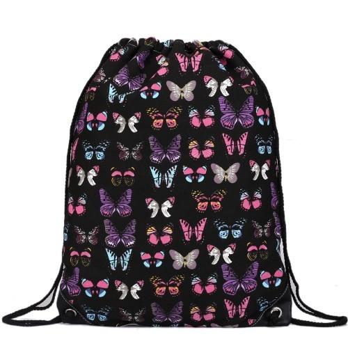 Rucsac negru cu imprimeu multicolor din material textil Miss Lulu, unisex E1406B foto mare