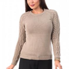 BL979-155 Pulover gros tricotat, cu guler rotund si maneci lungi cu torsade, S/M
