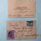 Carte de vizita/plic timbrat Carol al II-lea.IULIU MOYS-PRESEDINTE DE TRIBUNAL.