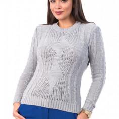 BL981-18 Pulover tricotat, cu maneci lungi si model, S/M