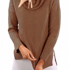 BL1000-14 Pulover tricotat, cu model, fante pe lateral si guler inalt, L, M, M/L, S/M, XL