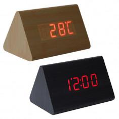 Ceas LED digital de birou, senzor sunet, data, temperatura, 3 grupe alarma, lemn