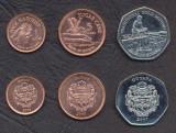 GUYANA █ SET COMPLET DE MONEDE █ 1, 5, 10 Dollars █ 2007-2008 █ UNC