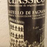 R.21-CHIANTI CLASSICO, doc, CASTELLO DI FAGNANAO, recoltare 1979 cl 75 GR 12, Sec, Rosu, Europa