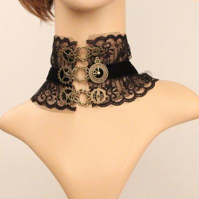 Set colier cu dantela+ bratara model gotic victorian cu ceas si camee foto