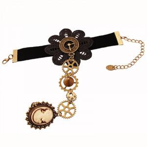 Set colier cu dantela+ bratara model gotic victorian cu ceas si camee