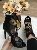 Sandale dama negre gladiator cu toc marime 37, 38, 40, 41+CADOU