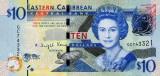 INSULELE CARAIBE █ bancnota █ 10 Dollars █ 2016 █ P-52b █ UNC █ necirculata