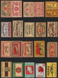 Colectie de 60 etichete vechi de chibrituri straine din perioada 1910-1950