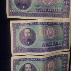 Bancnote una suta lei(100 lei)1966,seriii Consecutive ,T GRATUIT