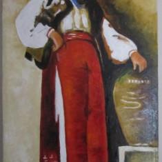 Pictura fata cu ulciorul dupa Grigorescu semnat Cimpoesu., Portrete, Ulei, Realism