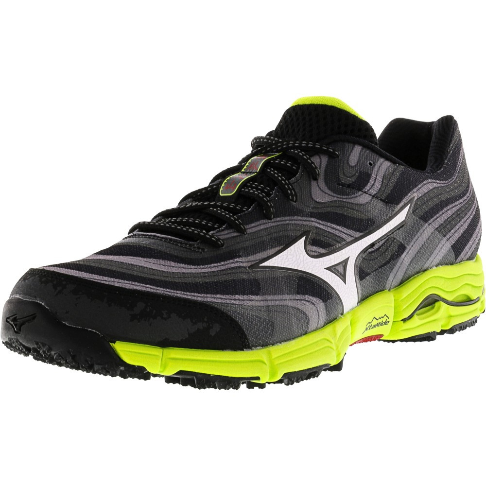 235593a247 Mizuno barbati Wave Kazan Grey   White Lime Ankle-High Running Shoe ...