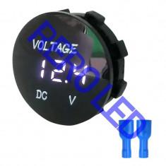 Voltmetru de panou 12-48V auto LED ALB