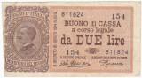 ITALIA 2 lire 1914 VF P-37c