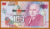 IRLANDA DE NORD █ bancnota █ 100 Pounds █ 2005 █ P-209 █ NORTHERN BANK █ UNC █