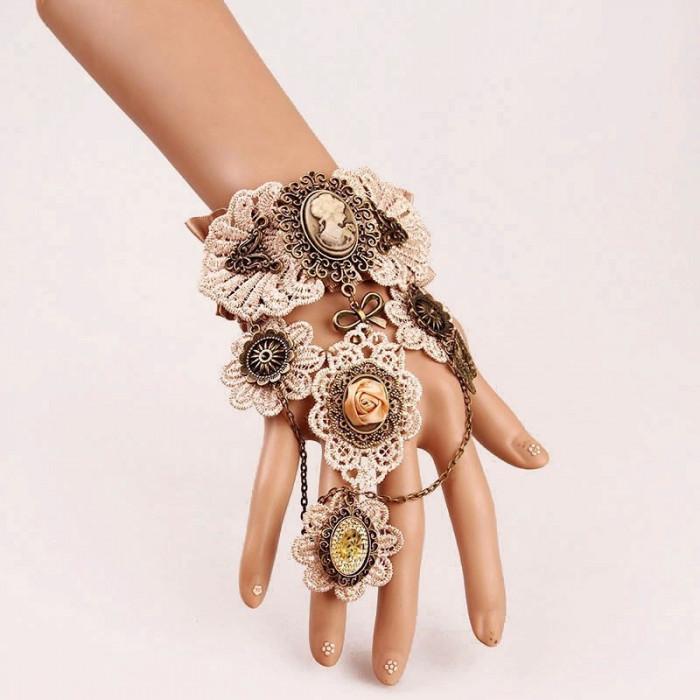 Set colier +Bratara dantela cu inel- model gotic victorian cu camee