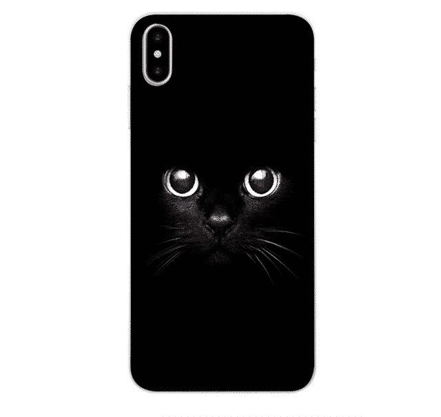Husa print cat negru pentru iPhone X