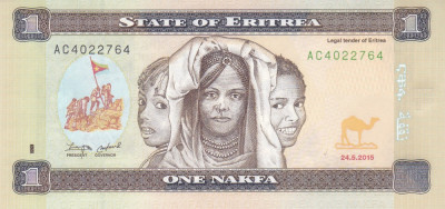 Bancnota Eritrea 1 Nafka 2015 - P13 UNC ( RARA - din seria noua ) foto