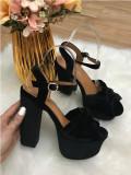Sandale dama negre cu toc si platforma marime   38+CADOU, Din imagine