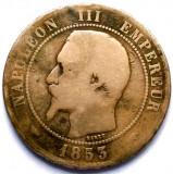 MOKAZIE , FRANTA , NAPOLEON III , 10 CENTIMES 1853 A , PARIS MINT , URIASA 30mm., Europa, Cupru (arama)