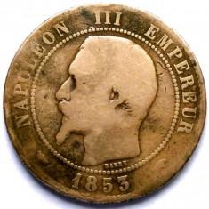 MOKAZIE , FRANTA , NAPOLEON III , 10 CENTIMES 1853 A , PARIS MINT , URIASA 30mm.