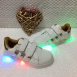 Adidasi cu LED albi aurii tenisi scai pantofi sport fete baieti 32 33 34 35 36, Unisex