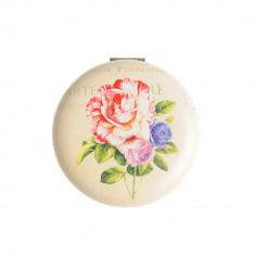 Oglinda rotunda, decor floral