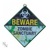 Plăcuță decorativă metal Sanctuar pentru zombi