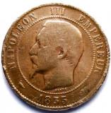 MOKAZIE , FRANTA , NAPOLEON III , 10 CENTIMES 1855 D , LYON MINT , URIASA 30mm., Europa, Cupru (arama)