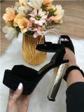 Sandale dama negre cu toc si platforma marime  40 +CADOU