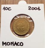 Moneda MONACO 10 euro centi  2001, Europa, Cupru-Nichel
